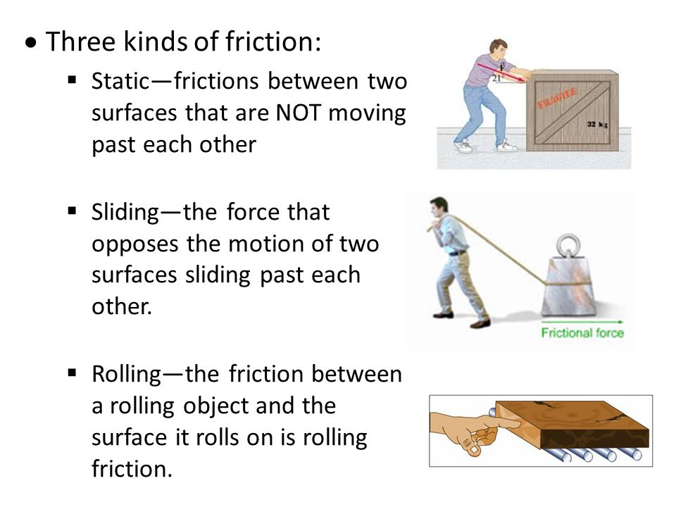 Three kinds of friction: