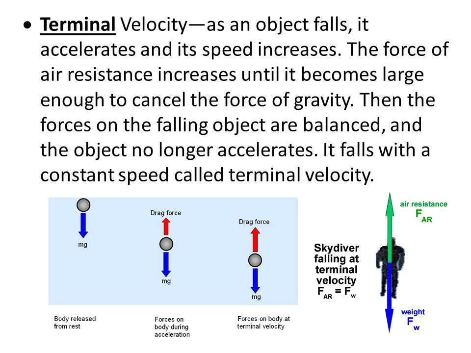 Terminal Velocity—as an object falls, it accelerates and its speed increases.