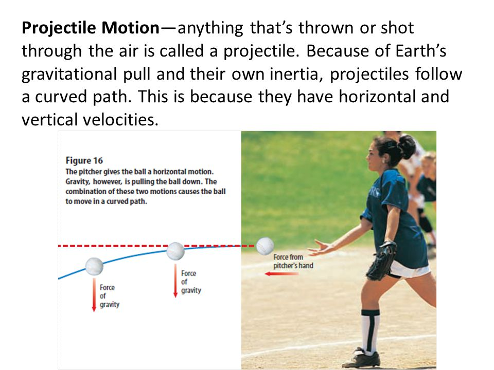Projectile Motion—anything that's thrown or shot through the air is called a projectile.