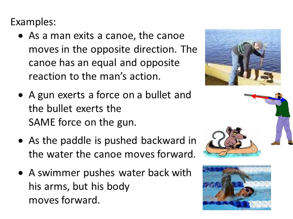 Examples: As a man exits a canoe, the canoe moves in the opposite direction. The canoe has an equal and opposite reaction to the man's action.