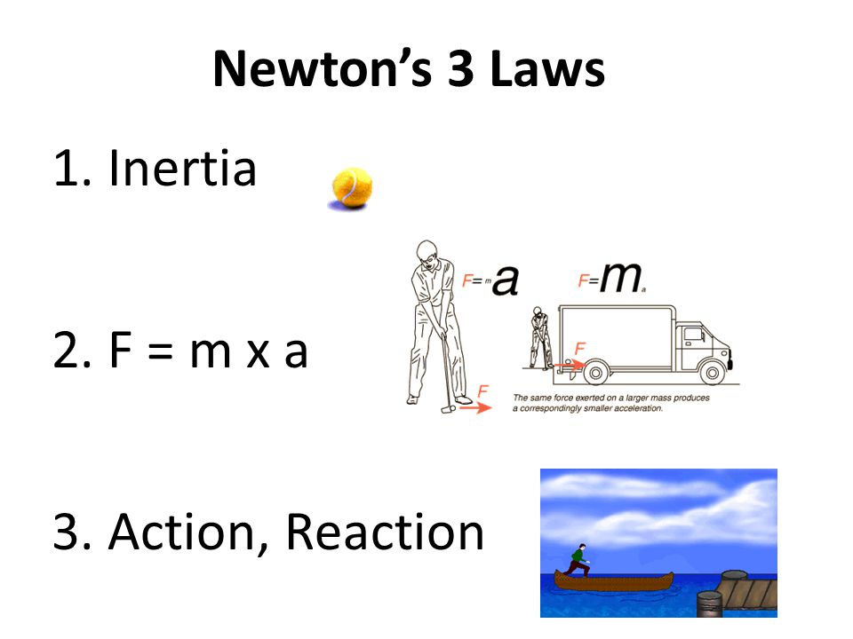 Newton's 3 Laws Inertia F = m x a Action, Reaction