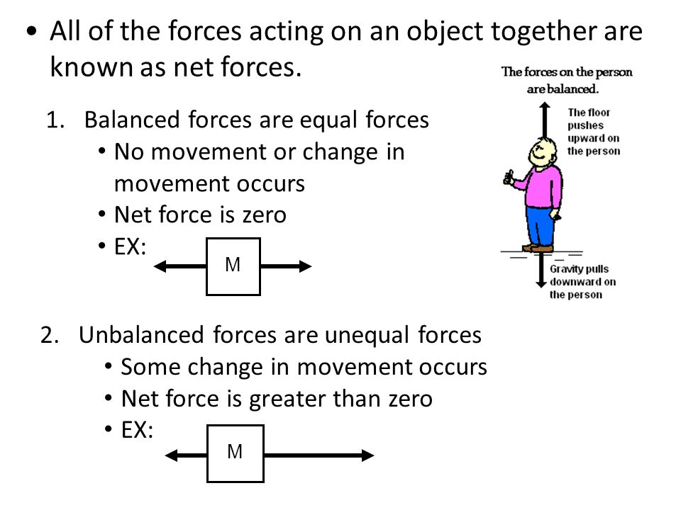 All of the forces acting on an object together are known as net forces.