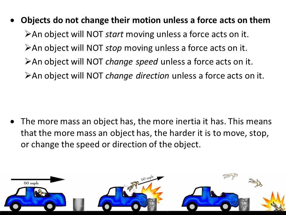 Objects do not change their motion unless a force acts on them