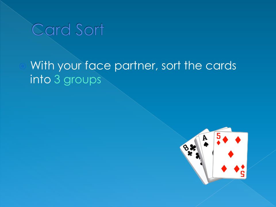 Card Sort With your face partner, sort the cards into 3 groups