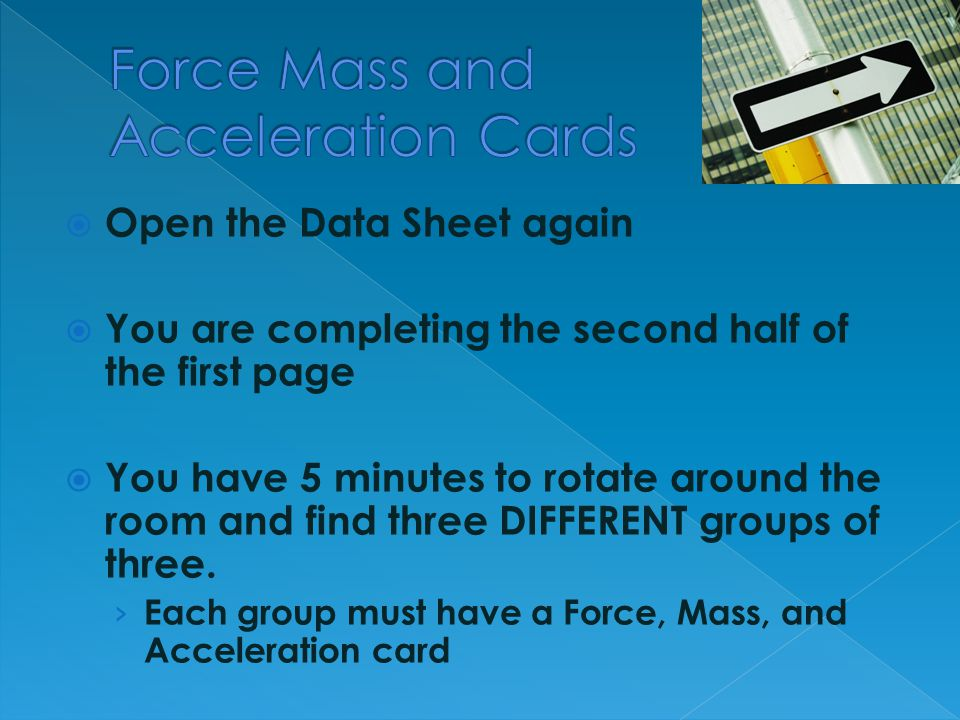 Force Mass and Acceleration Cards