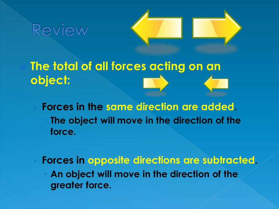 Review The total of all forces acting on an object: