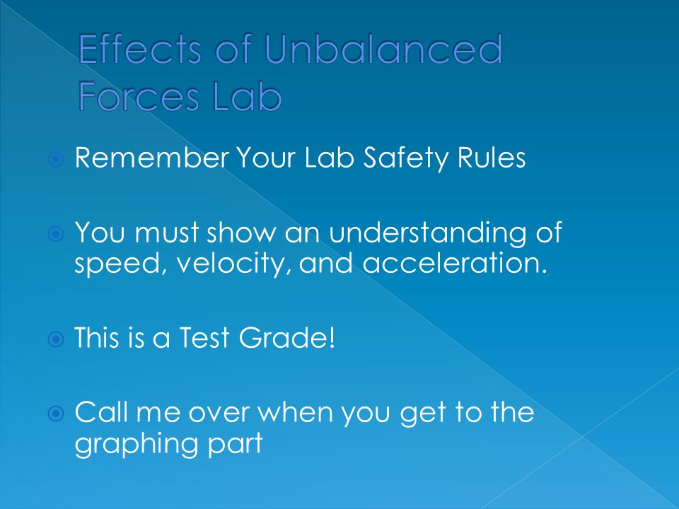 Effects of Unbalanced Forces Lab