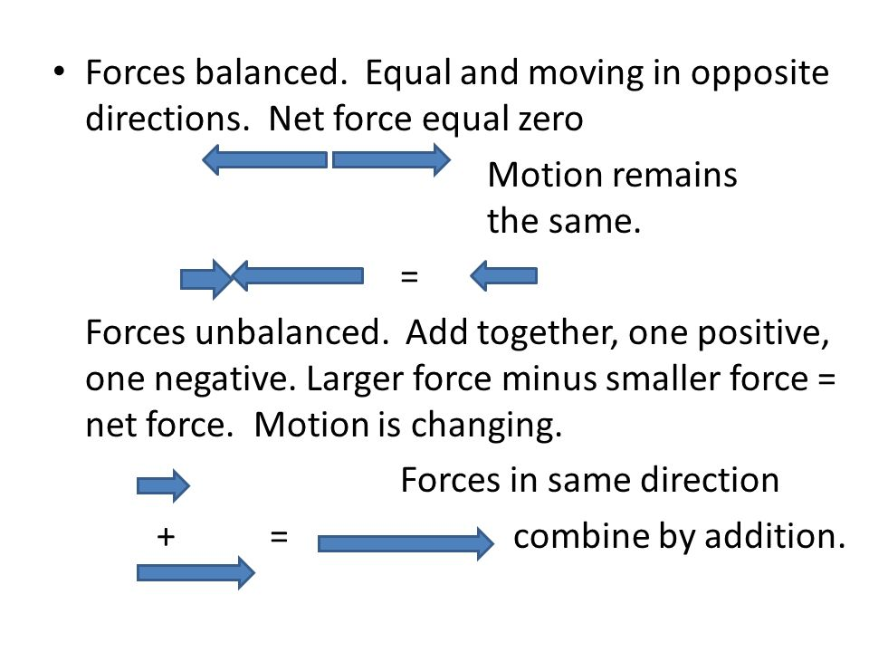 Forces in same direction + = combine by addition.
