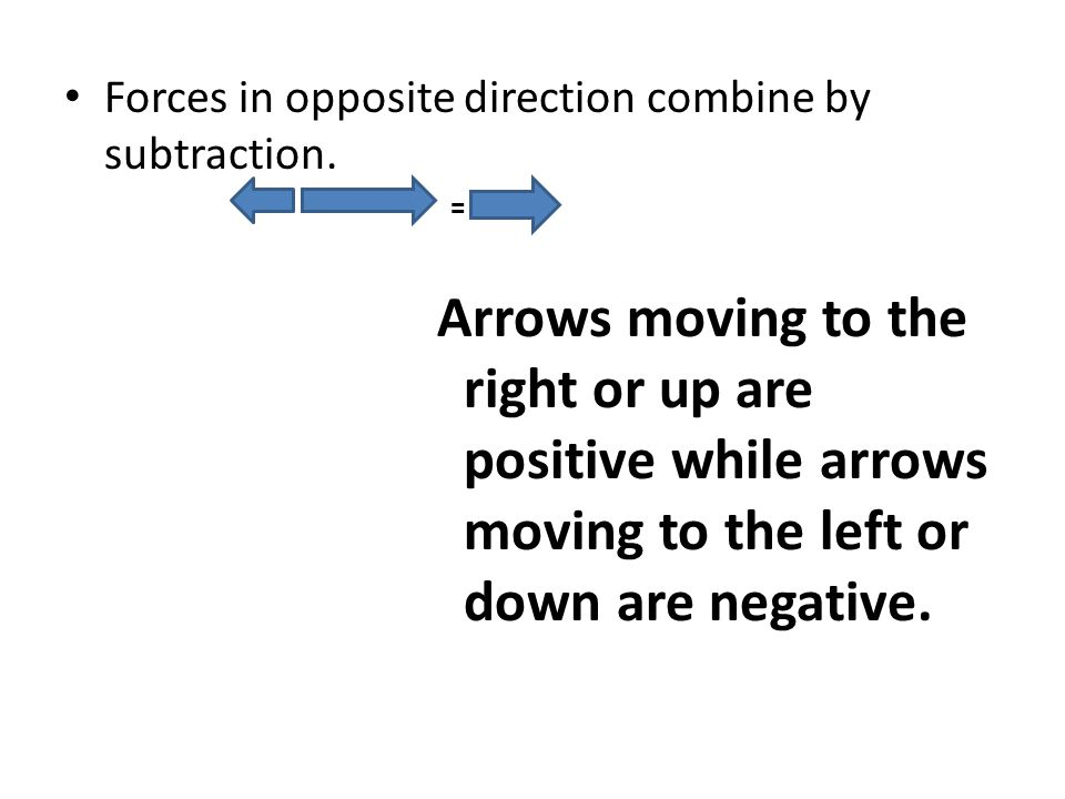 Forces in opposite direction combine by subtraction.