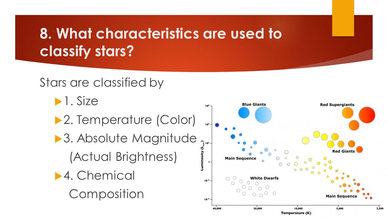 8. What characteristics are used to classify stars