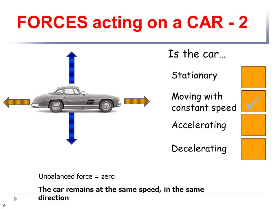  FORCES acting on a CAR - 2 Is the car… Stationary Moving with