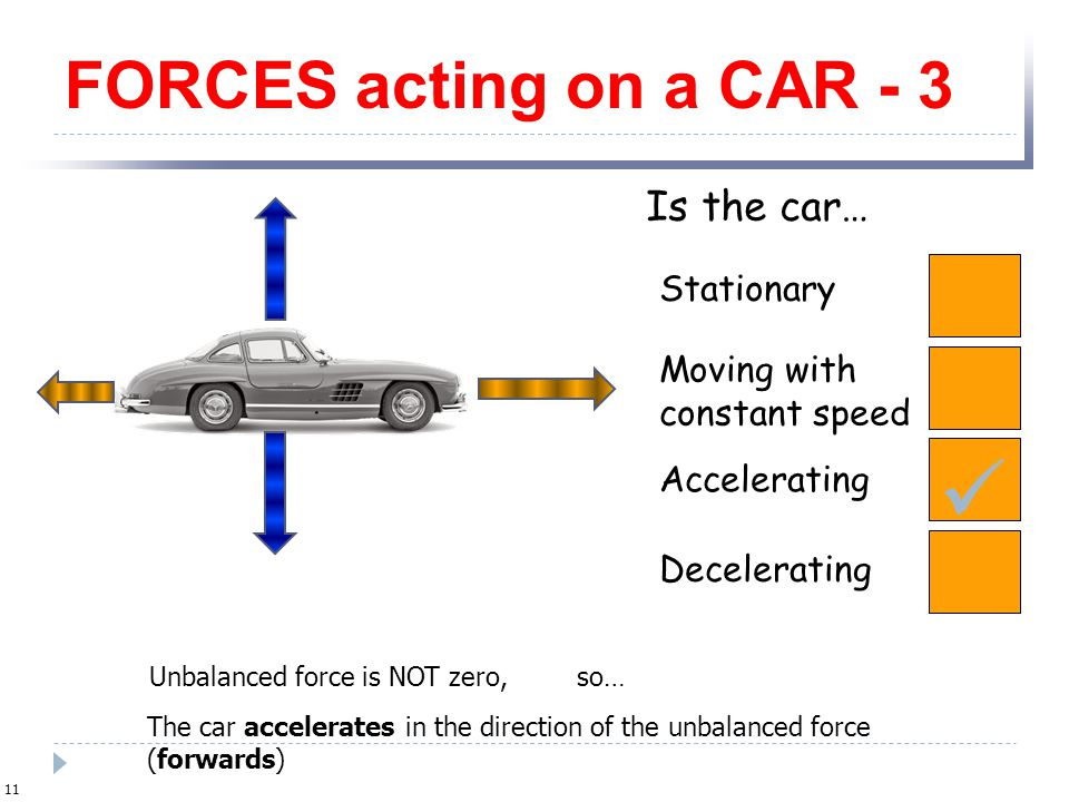  FORCES acting on a CAR - 3 Is the car… Stationary Moving with