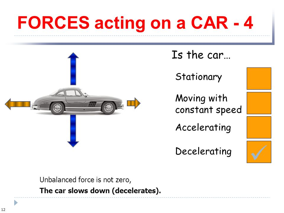  FORCES acting on a CAR - 4 Is the car… Stationary Moving with