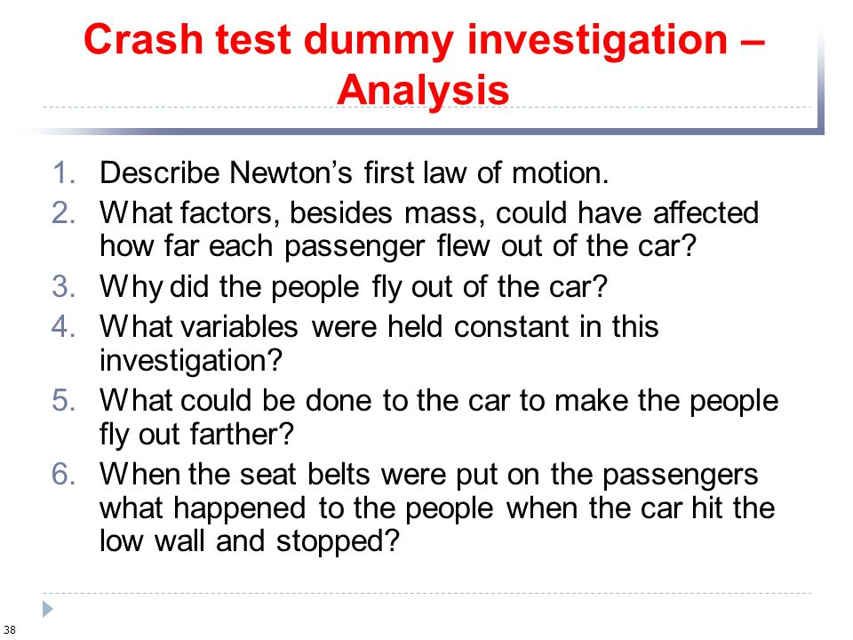 Crash test dummy investigation – Analysis