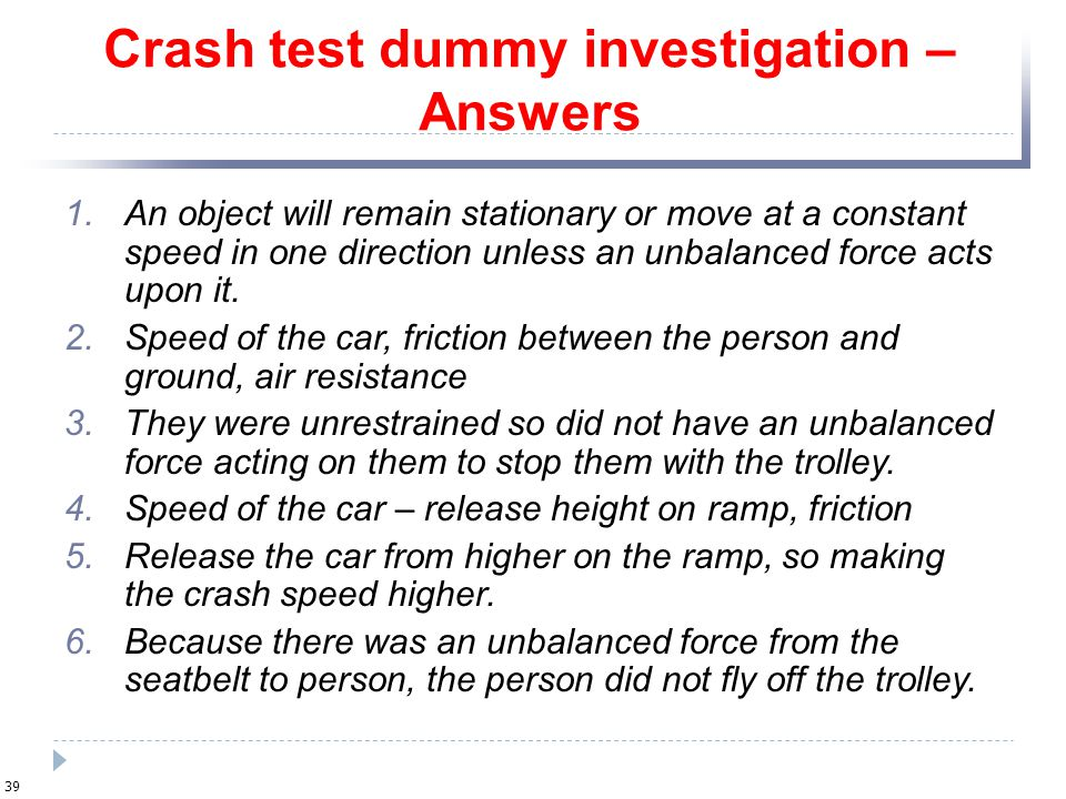 Crash test dummy investigation – Answers
