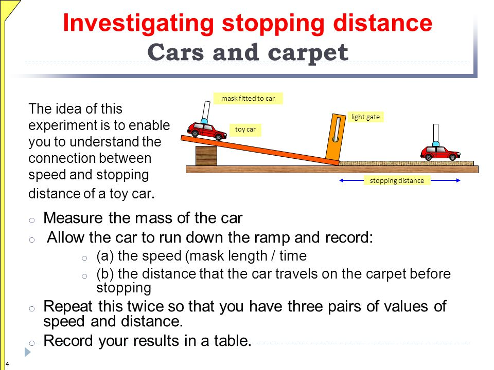 Investigating stopping distance Cars and carpet