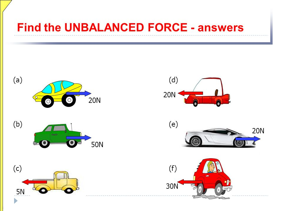 Find the UNBALANCED FORCE - answers