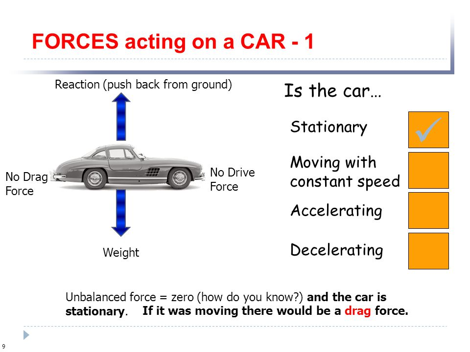  FORCES acting on a CAR - 1 Is the car… Stationary Moving with