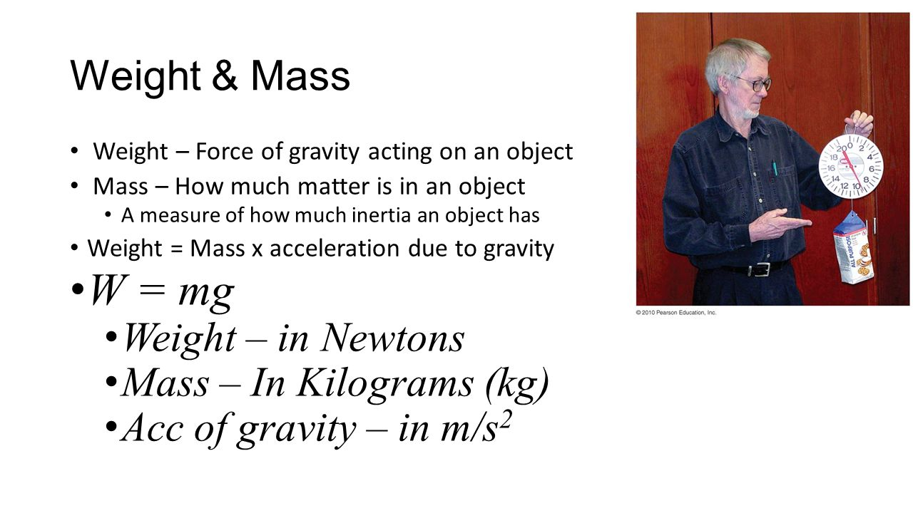 W = mg Weight & Mass Weight – in Newtons Mass – In Kilograms (kg)