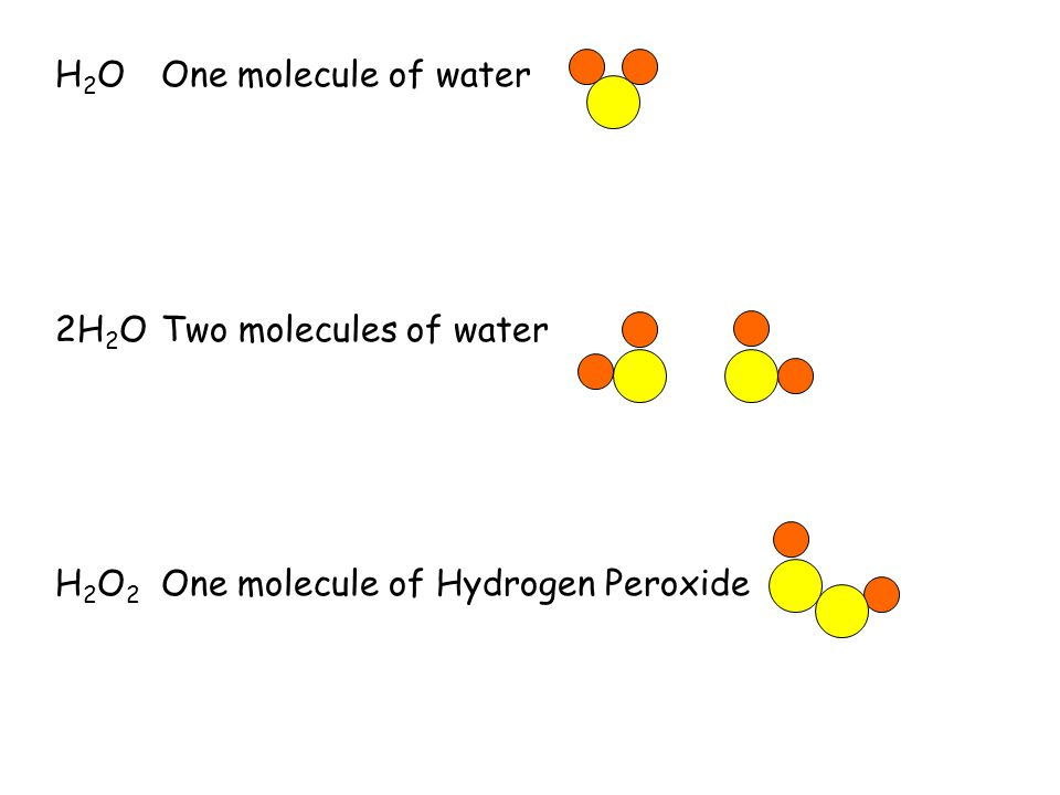 H2O One molecule of water