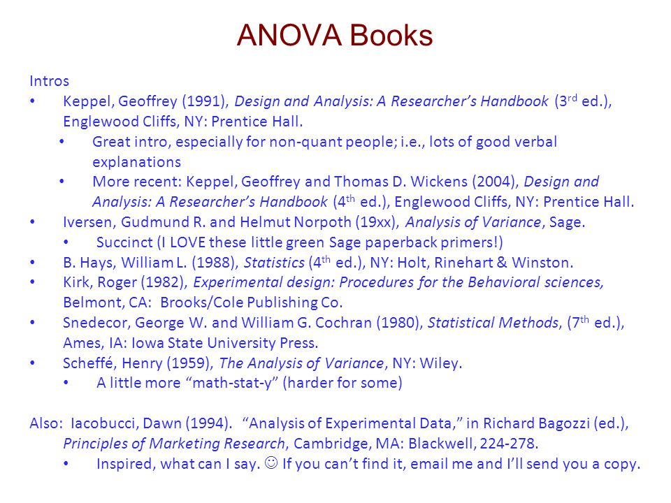 ANOVA Books Intros. Keppel, Geoffrey (1991), Design and Analysis: A Researcher's Handbook (3rd ed.), Englewood Cliffs, NY: Prentice Hall.