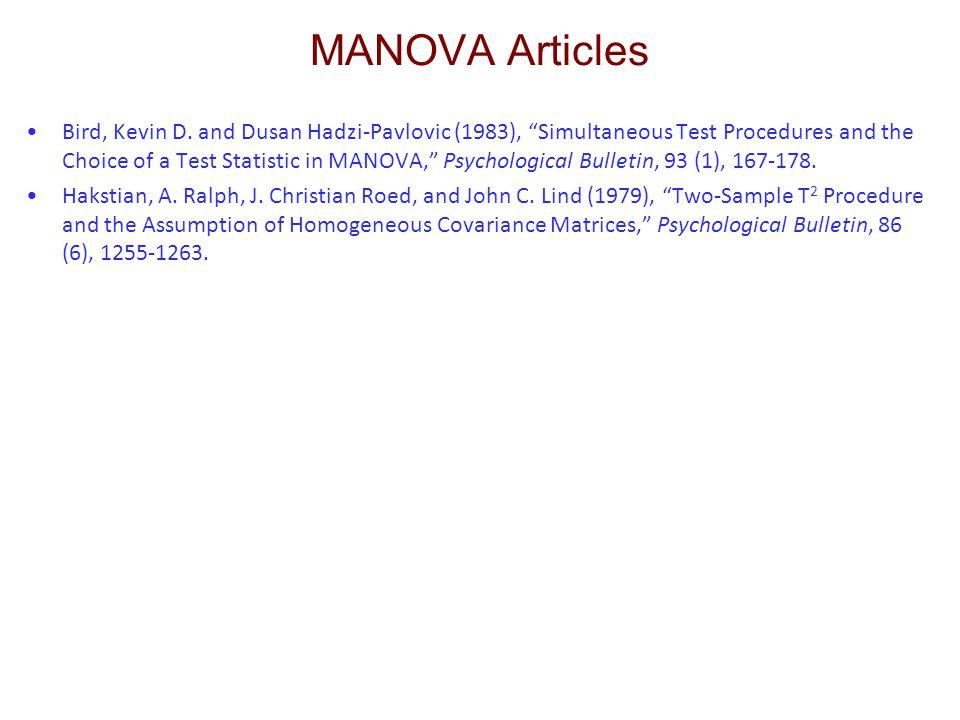 MANOVA Articles