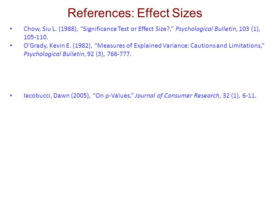 References: Effect Sizes