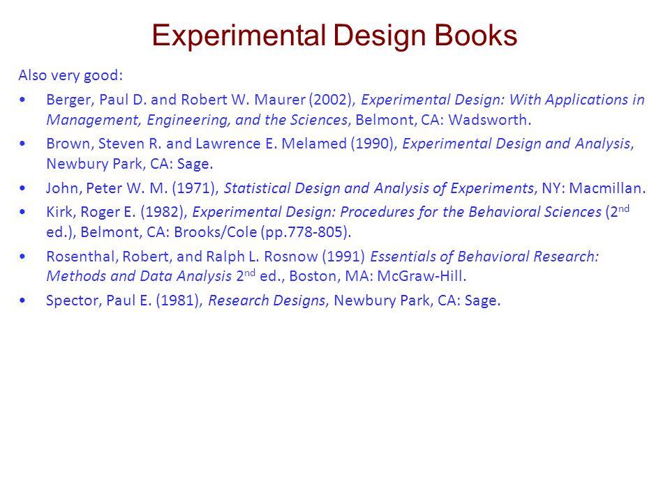 Experimental Design Books