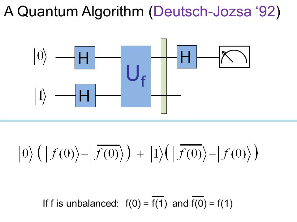 Uf H H H A Quantum Algorithm (Deutsch-Jozsa '92)