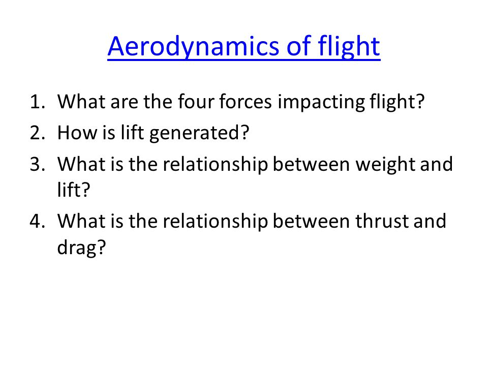 Aerodynamics of flight