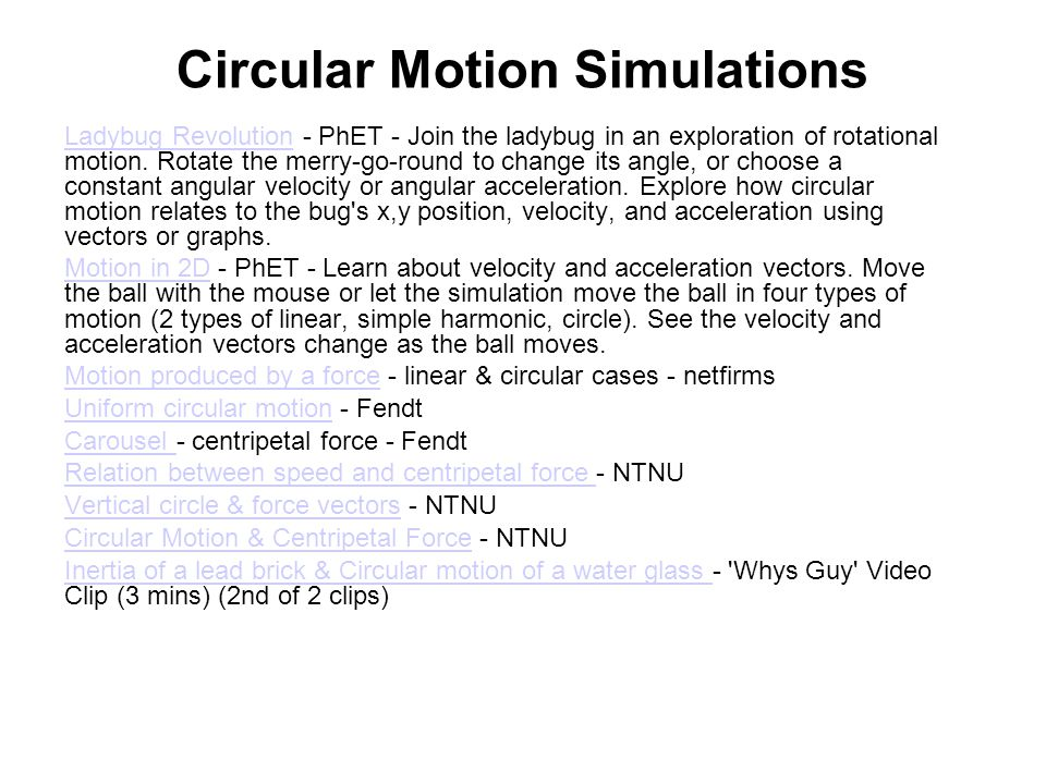 Circular Motion Simulations
