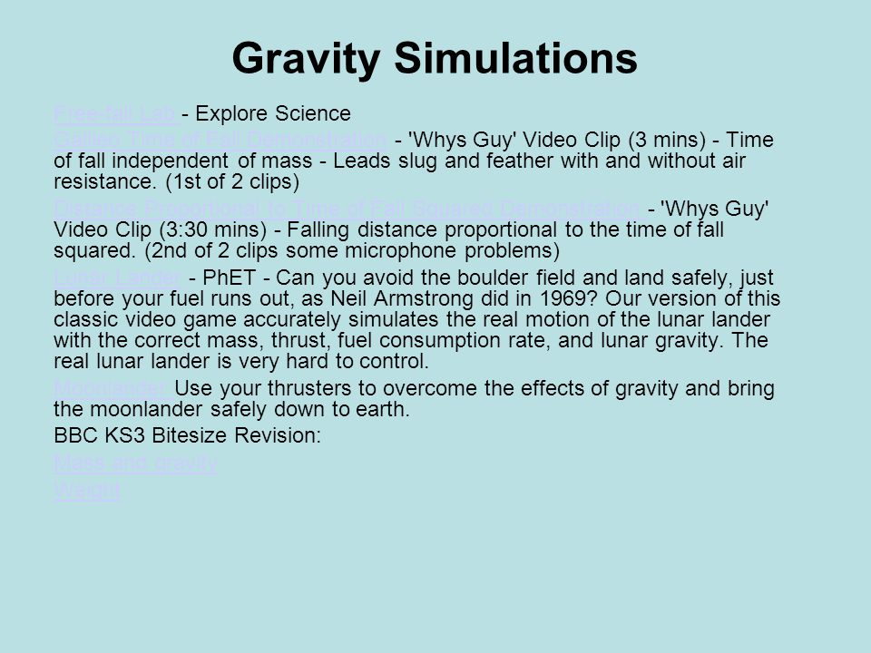 Gravity Simulations Free-fall Lab - Explore Science