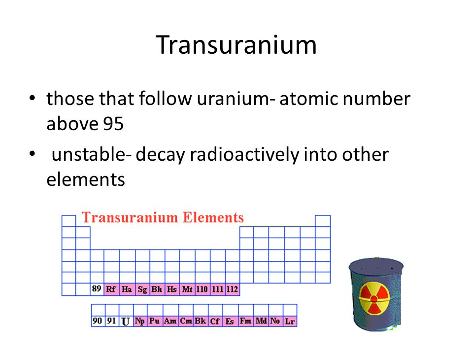 Transuranium those that follow uranium- atomic number above 95