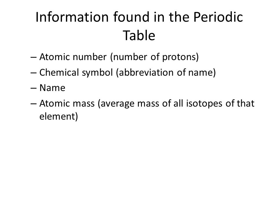 Information found in the Periodic Table