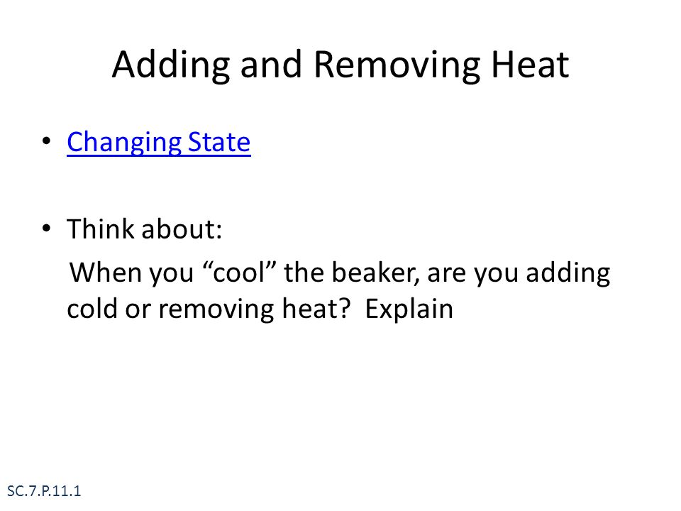 Adding and Removing Heat