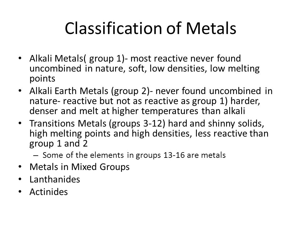 Classification of Metals
