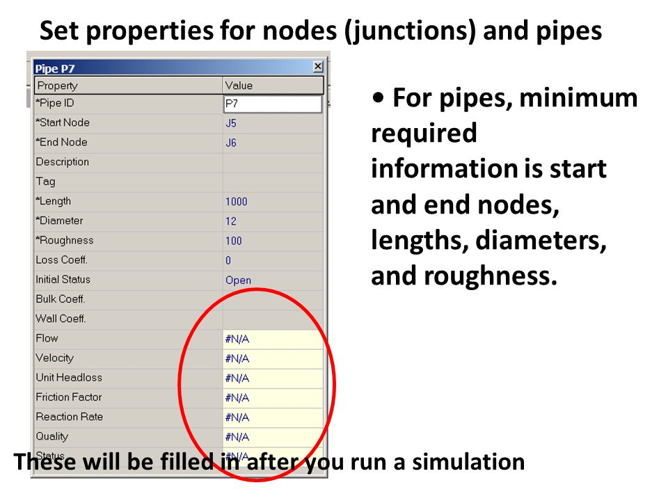 Set properties for nodes (junctions) and pipes