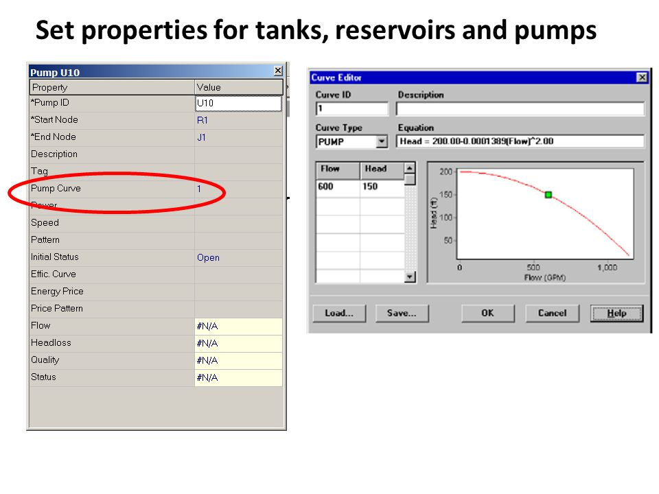 Set properties for tanks, reservoirs and pumps
