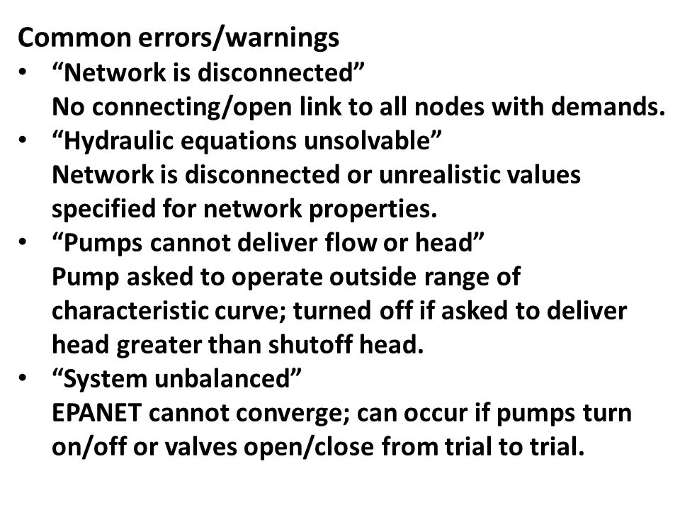 Common errors/warnings