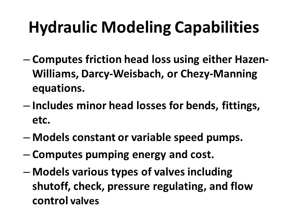 Hydraulic Modeling Capabilities