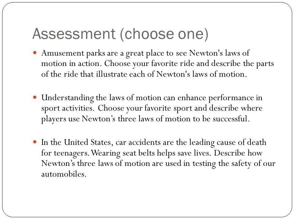 Assessment (choose one)