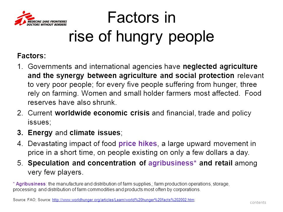 Factors in rise of hungry people