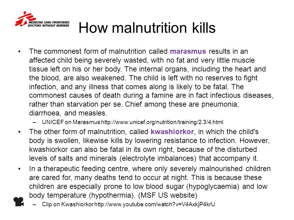 How malnutrition kills