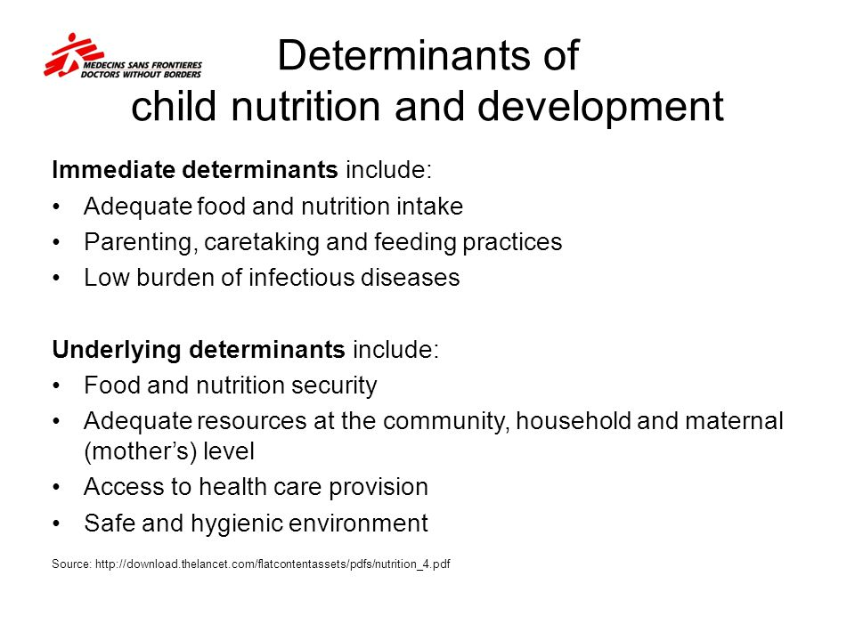 Determinants of child nutrition and development
