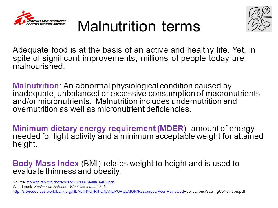 Malnutrition terms