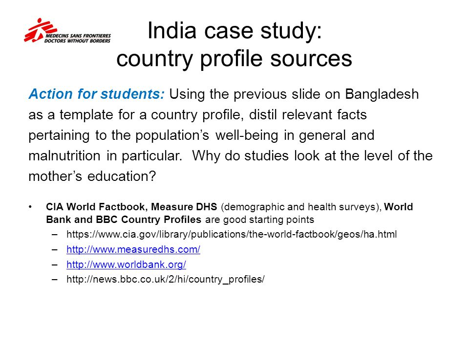 India case study: country profile sources