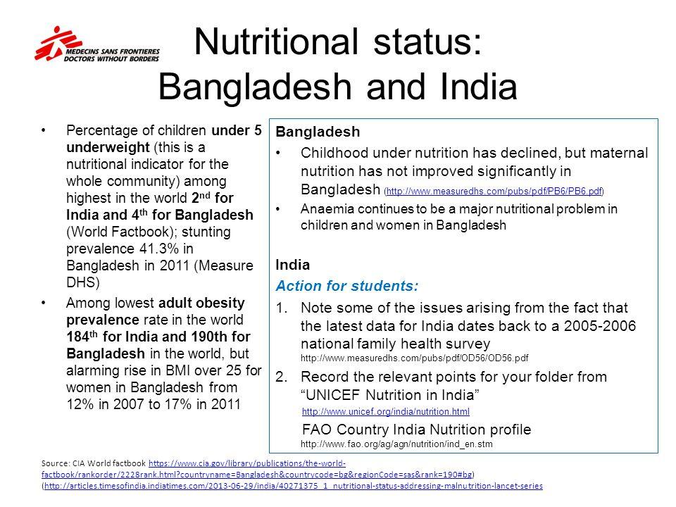 Nutritional status: Bangladesh and India