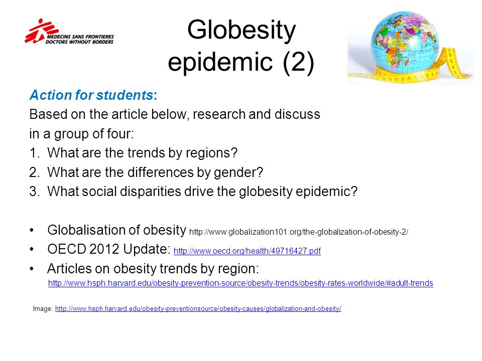 Globesity epidemic (2) Action for students: