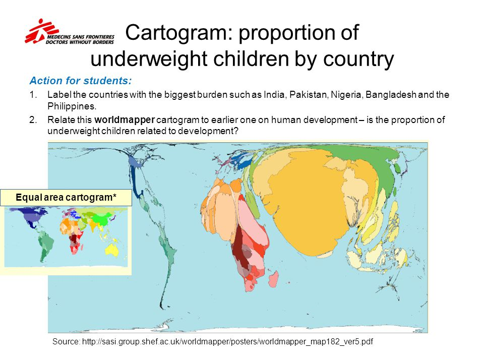 Cartogram: proportion of underweight children by country