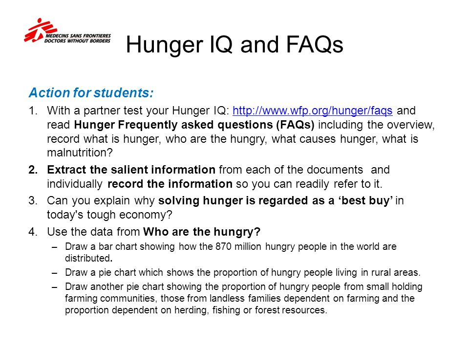 Hunger IQ and FAQs Action for students: